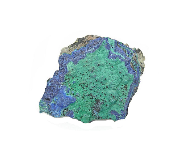 Azurite Malachite Crystalline Druzy in Rock Matrix.  Mineral Specimen Morenci Arizona