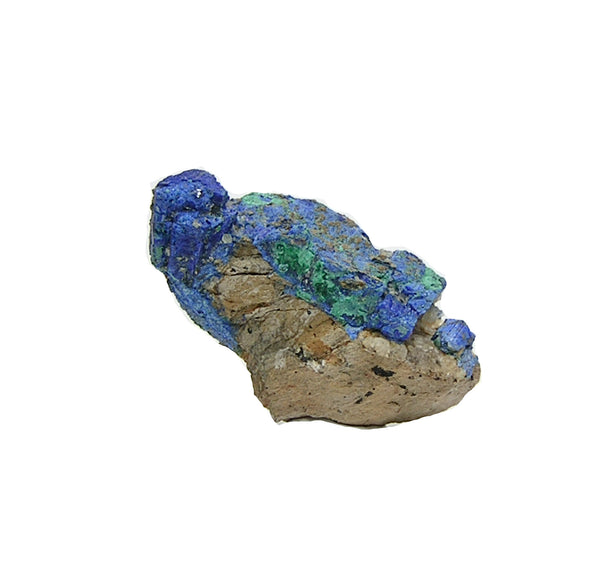 Chalcostibite Rare Metallic Crystals partially pseudomorphed by Azurite Mineral Specimen for the Expert Collector