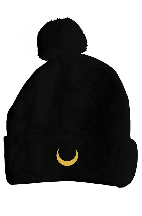 Sailor Moon Embroidered Crescent Moon Pom Pom Beanie