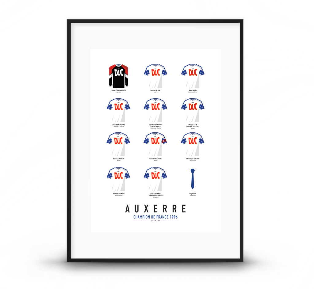 affiche ajauxerre champion de france 1996 poster aja affiche foot poster football