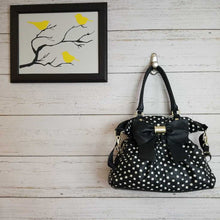 Load image into Gallery viewer, Black White Polka Dot Betsey Johnson Diaper Bag