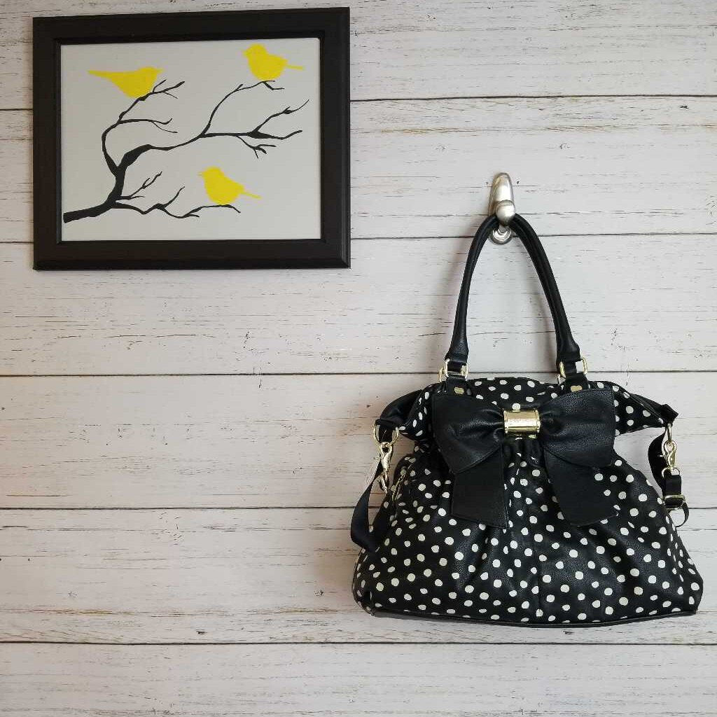 Black White Polka Dot Betsey Johnson Diaper Bag