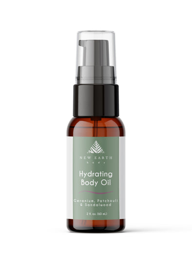 Hydrating body oil with patchouli, geranium and sandalwood essential oils. 2-ounce amber glass bottle with treatment pump.