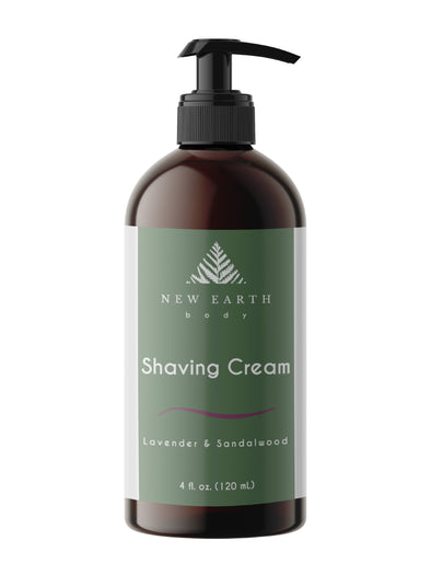Shaving cream with lavender and sandalwood essential oils, 4-ounce amber glass bottle with treatment pump