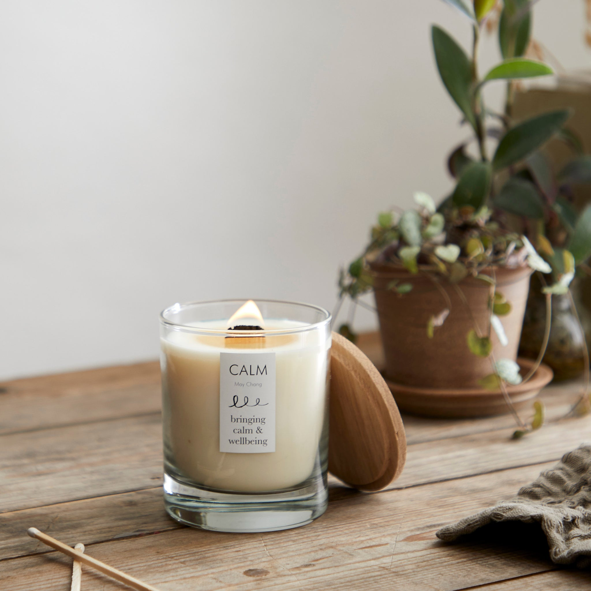 soy candle alight