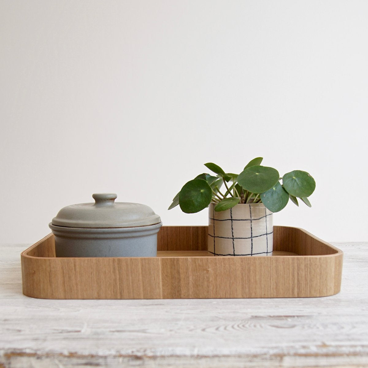 plywood tray featuring two plant pots