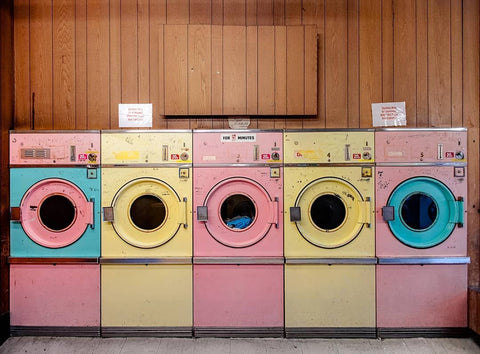 pink and yellow washing machines