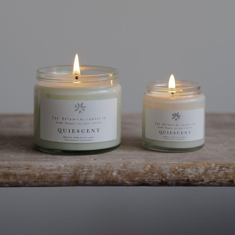 large and small quiescent soy candles