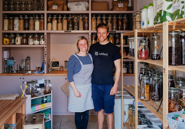 Owners of Refilled Chichester, smiling