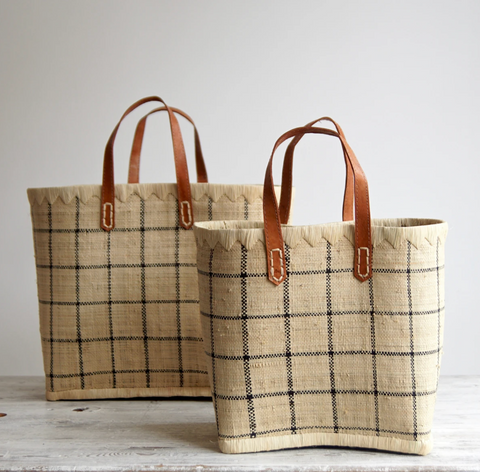 RAffia and leather basket bags
