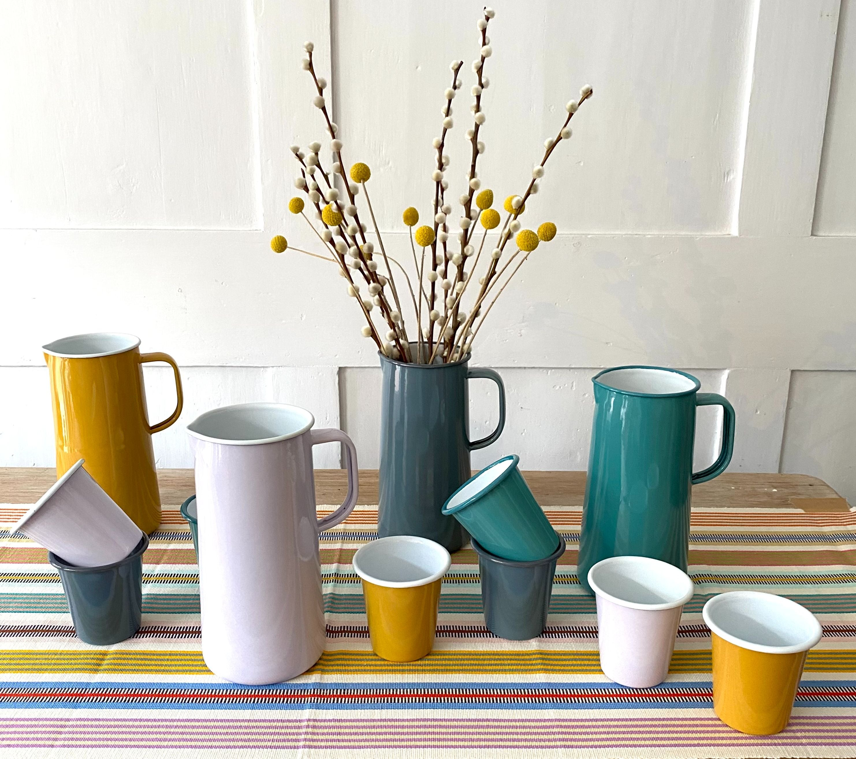 selection of colourful enamelware