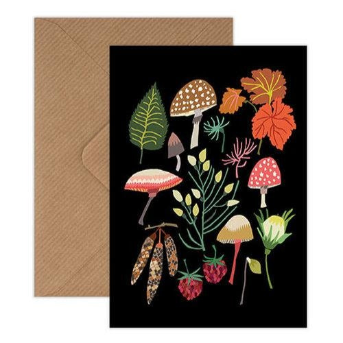 'Mushrooms and Moss' Greetings Card