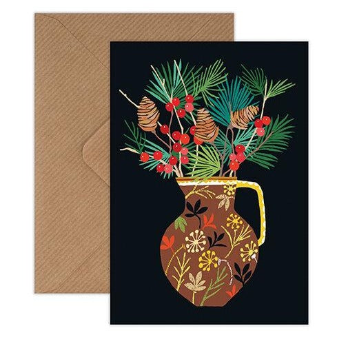 'Berries & Fir' Greetings Card with Envelope