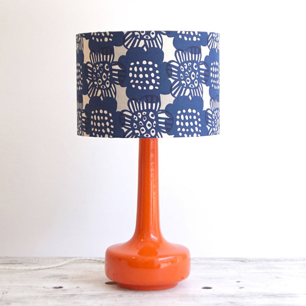 Bell Bottom Orange Table Lamp with Bloom Ink Shade