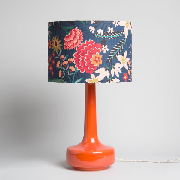 Bell Bottom Orange Table Lamp with Carnation Shade