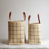 Fairtrade Raffia & Leather Basket