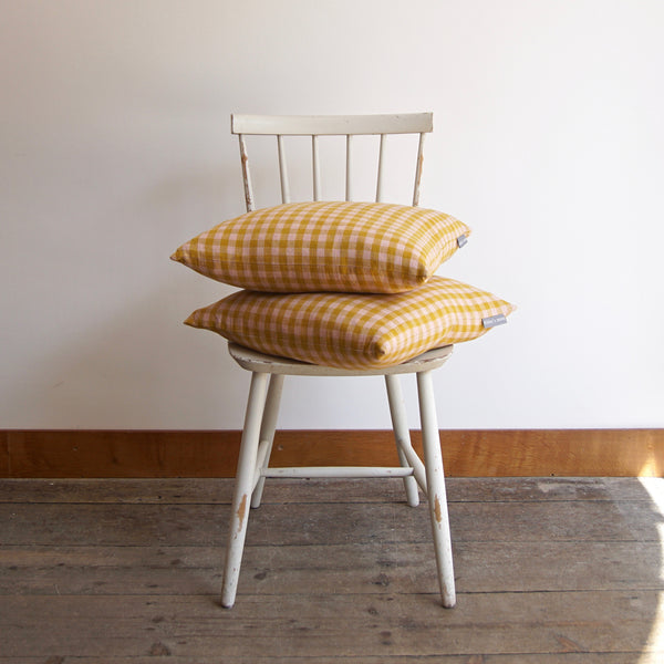 Pair of Cushions in Rhubarb & Custard Linen Gingham