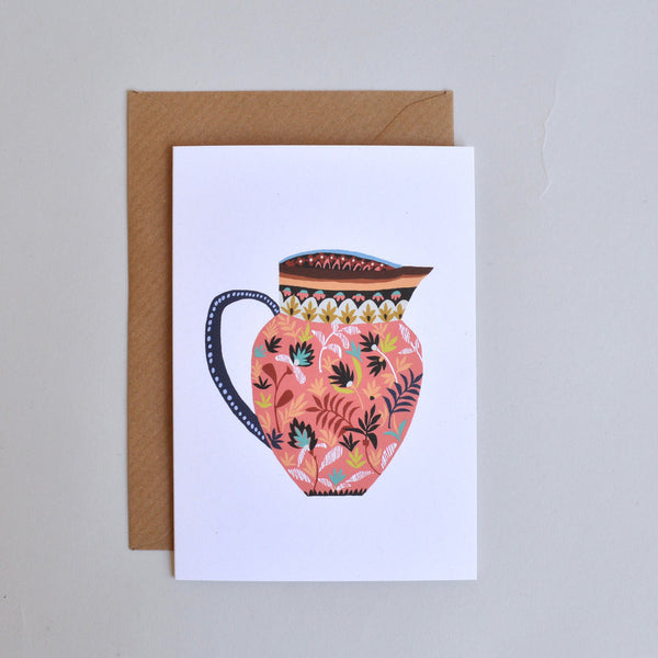 'Pink Museum Jug' Greetings Card with Envelope