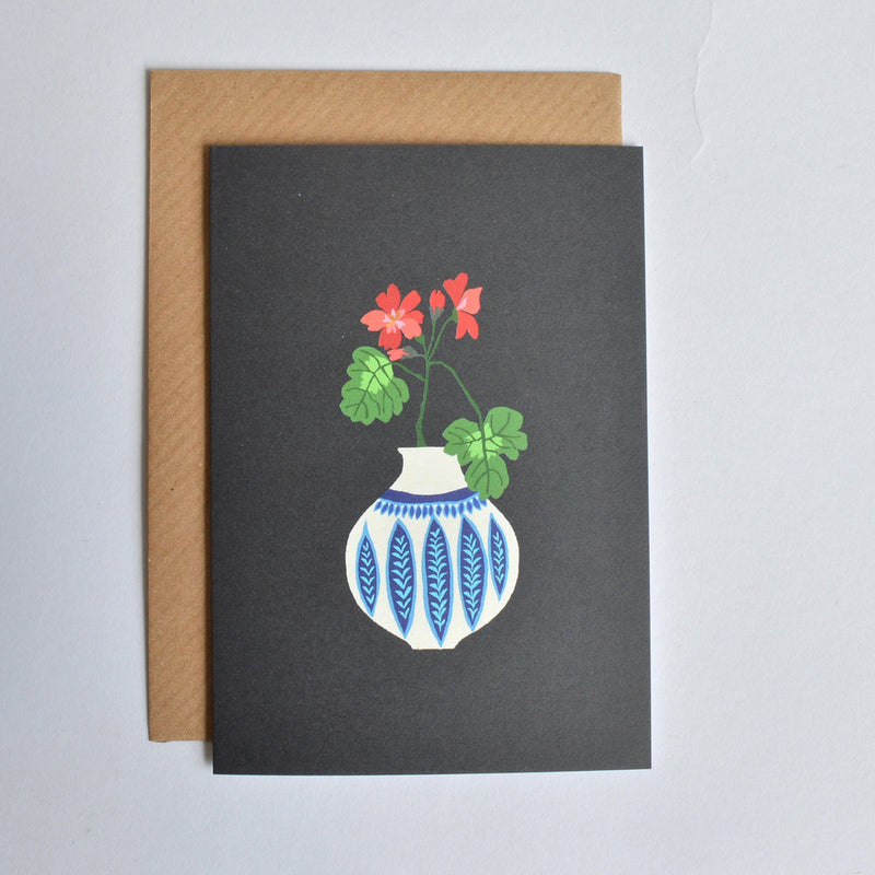 'Geranium Vase' Greetings Card