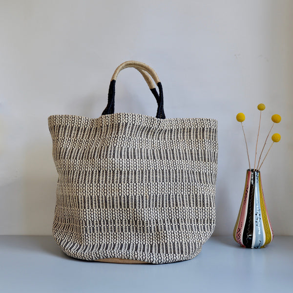 Monochrome Jute Tote Bag