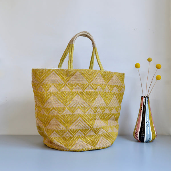 Geometric Yellow Jute Tote Bag