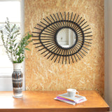 Rattan Elipse Sunburst Mirror - Black