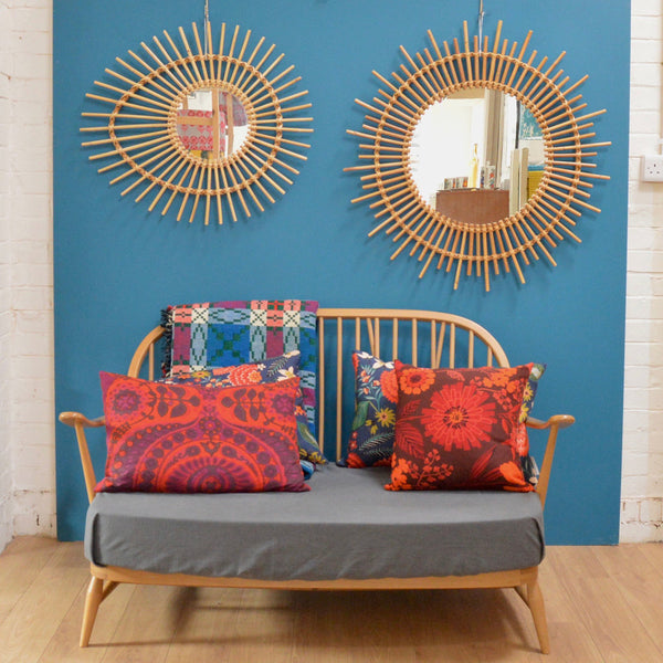 Large Sunburst Rattan Mirror