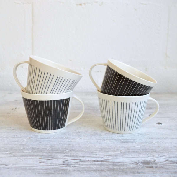Handmade Striped Porcelain Mug