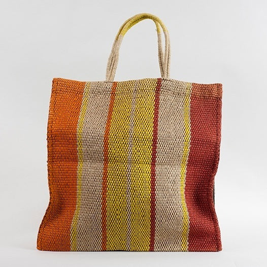 Fairtrade Striped Jute Tote Bag - Rust