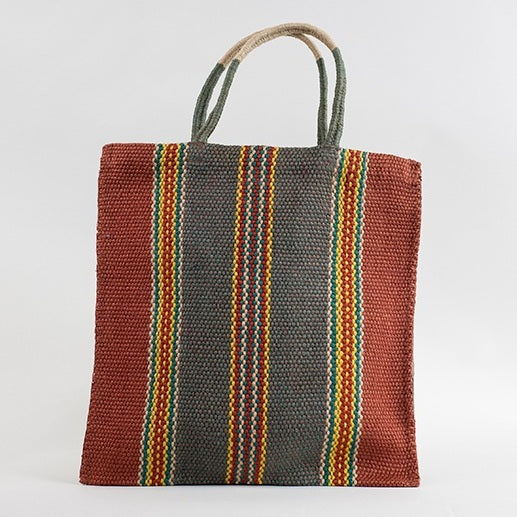 Fairtrade Striped Tote Bag -  Rust & Grey Thin Stripe