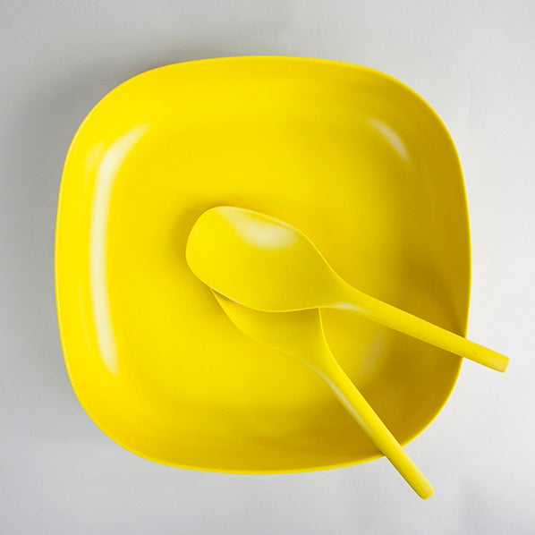 Large Bamboo Serving Dish - Yellow