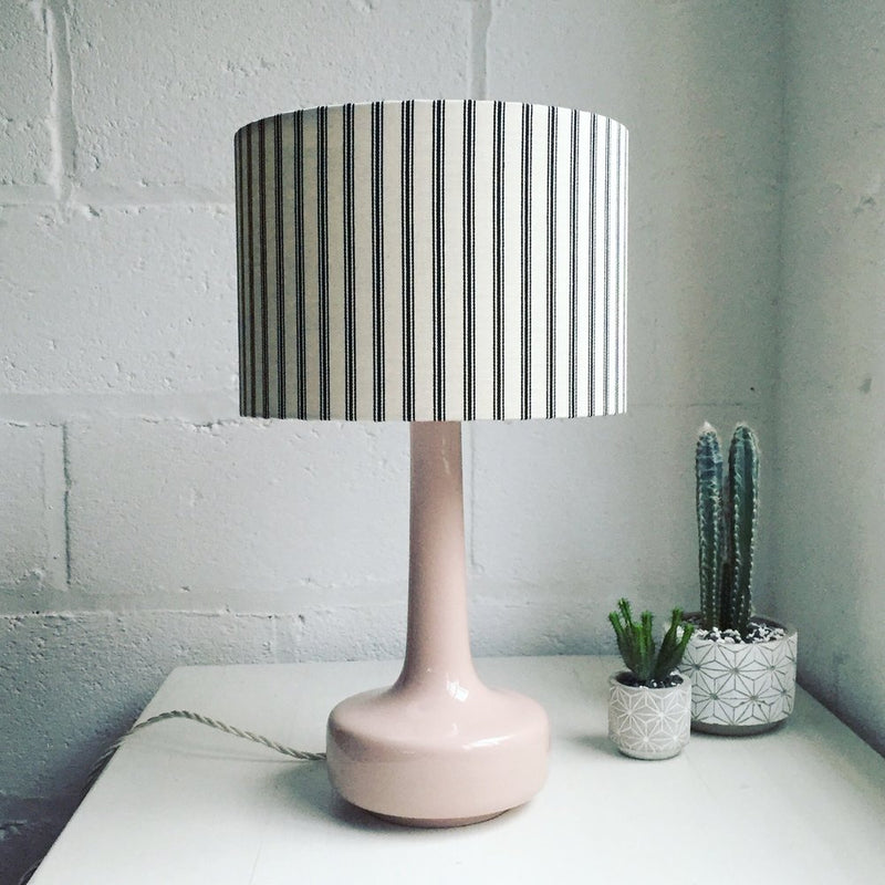 Bell Bottom Pink Table Lamp with Ticking Shade