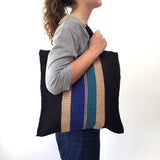 Fairtrade Striped Jute Tote Bag - Blue