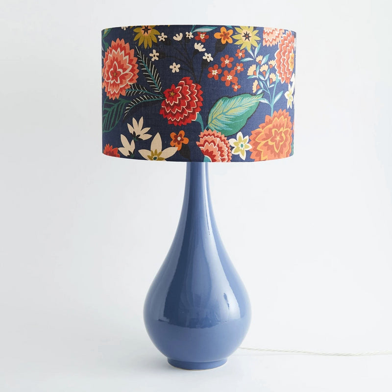 Pear Drop Large Table Lamp in Blue with Carnation Shade