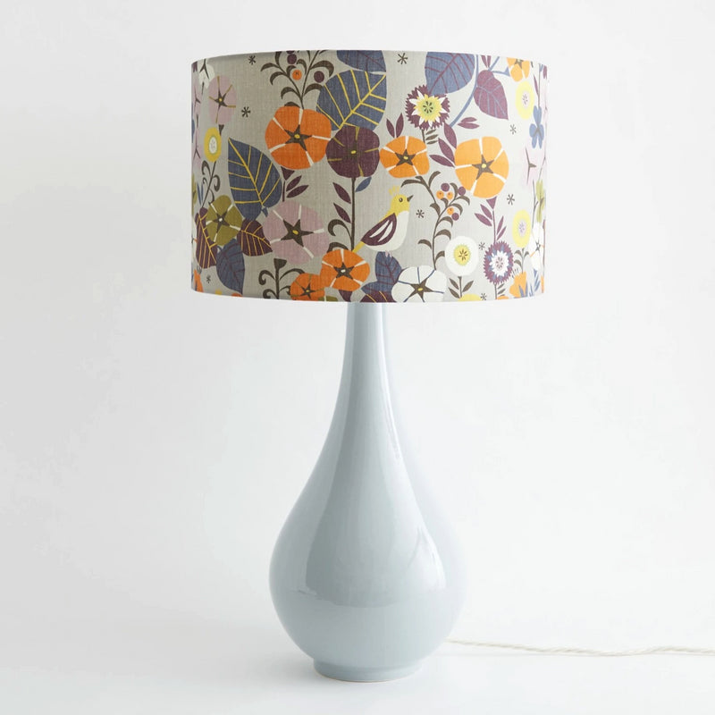 Pear Drop Large Table Lamp in Grey with Nasturtium Shade