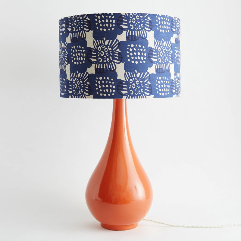 Pear Drop Large Table Lamp in Orange with Bloom Ink Shade