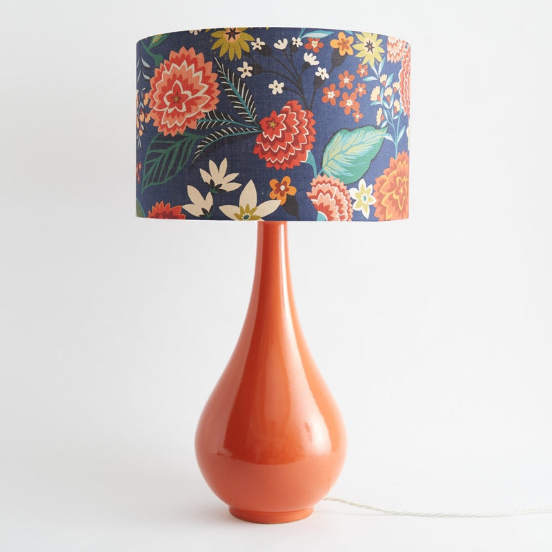Pear Drop Large Table Lamp in Orange with Carnation Shade