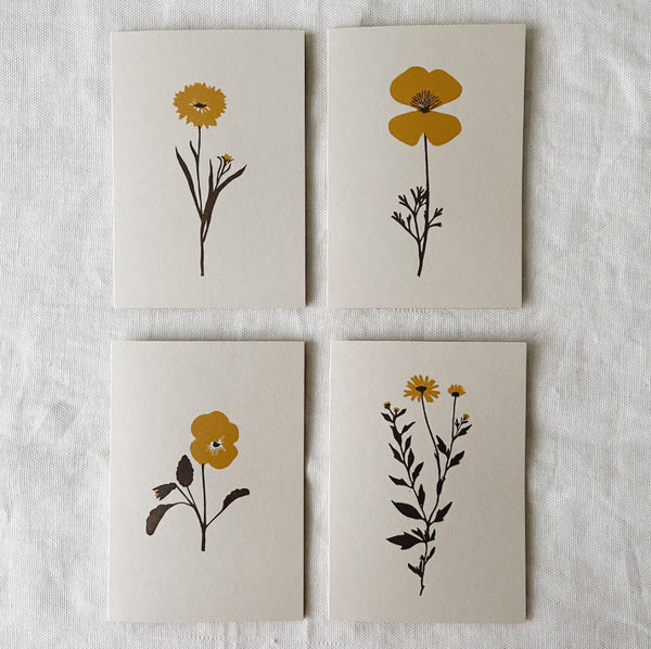 Floral Lino Print Greetings Card