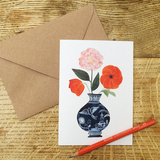 'Poppies and Tea Rose' Greetings Card