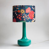 Bell Bottom Teal Table Lamp with Carnation Shade