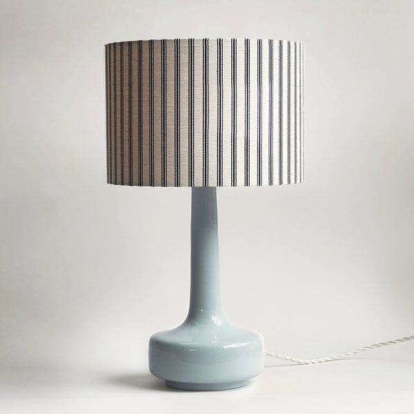 Bell Bottom Grey Table Lamp with Ticking Shade