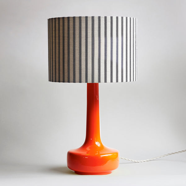 Bell Bottom Orange Table Lamp with Ticking Shade