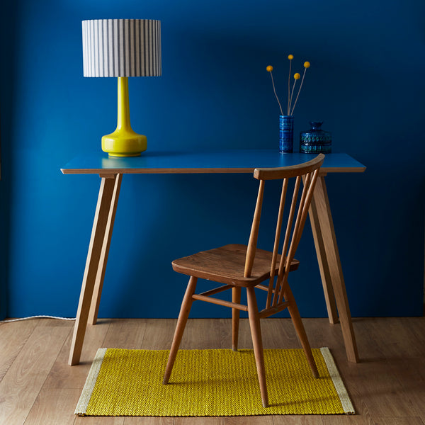 Bell Bottom Yellow Table Lamp with Ticking Shade