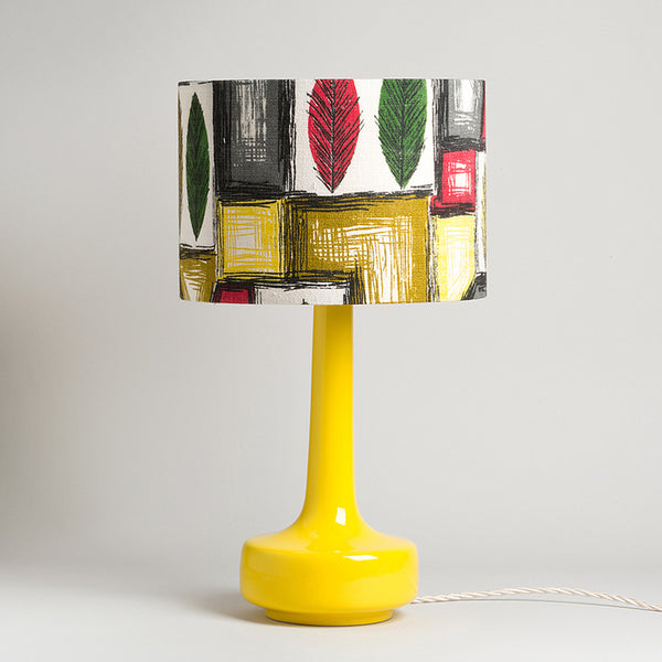 Bell Bottom Yellow Table Lamp with Vintage Leaf Barkcloth Shade