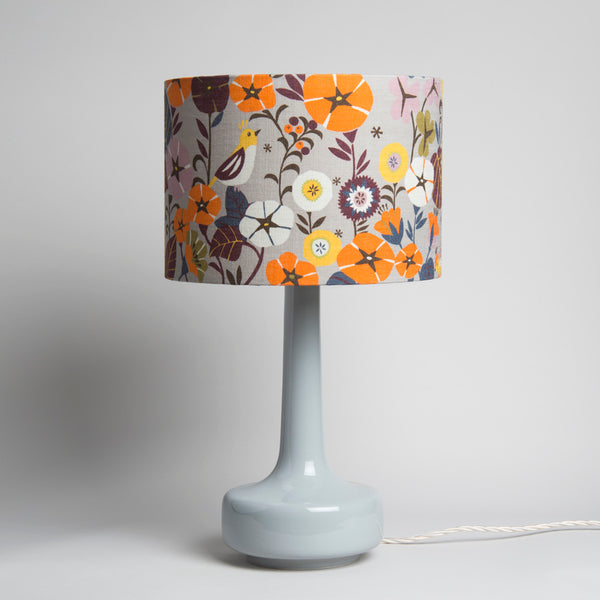 Bell Bottom Grey Table Lamp with Nasturtium Shade