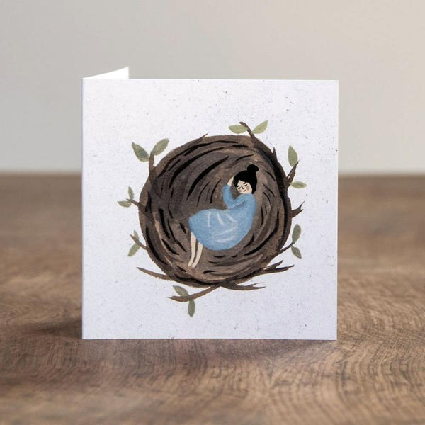 'Asleep in a Nest' Greetings Card