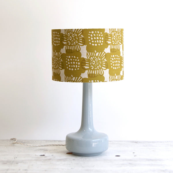 Bell Bottom Grey Table Lamp with Bloom Curry Shade
