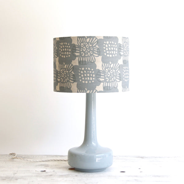Bell Bottom Grey Table Lamp with Bloom Pewter Shade