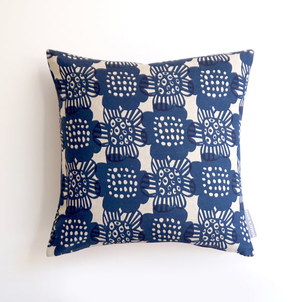 Cushion in Bloom - Ink Blue