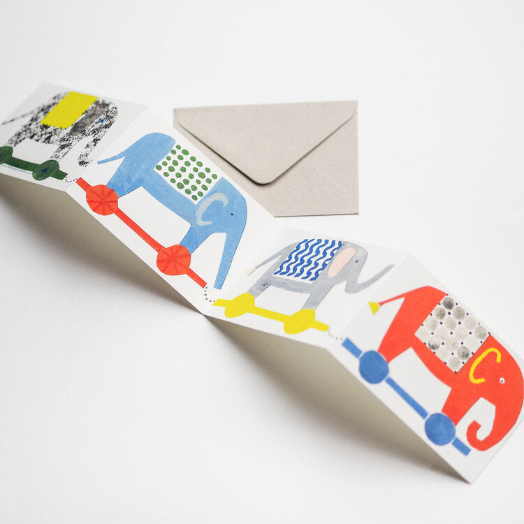 'Elephants' Fold-Out Greetings Card